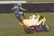 Motocykl w ogniu