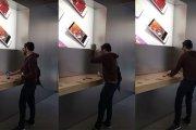 Wściekły gość rozwalił kilka iPhone'ów metalową kulą