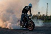 Rekordowe palenie gumy Harleyem