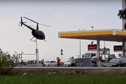 Wylądował helikopterem na stacji paliw. Nie chodziło o hot-dogi